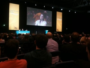 Zoe O'Connell speaking at the Lib Dem's Special Conference