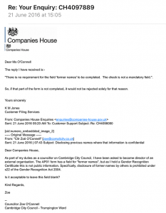 Companies House advice on dead names
